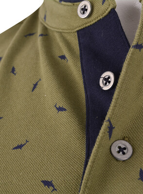 Pike Kumaş Düğmeli T-Shirt (Pk0333) - Thumbnail
