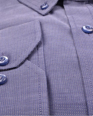 ZegSlacks - % 100 Pamuk Küçük Dokulu Spor Gömlek/Lacivert- Mavi (gml4185)