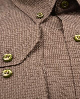 ZegSlacks - % 100 Pamuk Spor Gömlek/ Dokulu Haki Yeşil (gml4188)